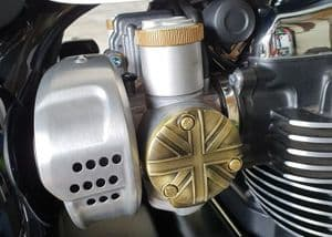 TPS Carb/Throttle Body Cover - Pair - Union Jack - Brass Coating: