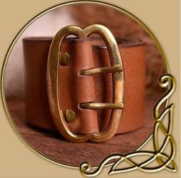 Broad leather belt with brass buckle