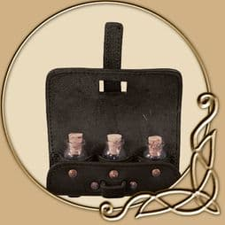 LARP Leather Potion Holder - with three Bottles