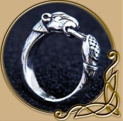 Silver Viking Ring with Hound Head